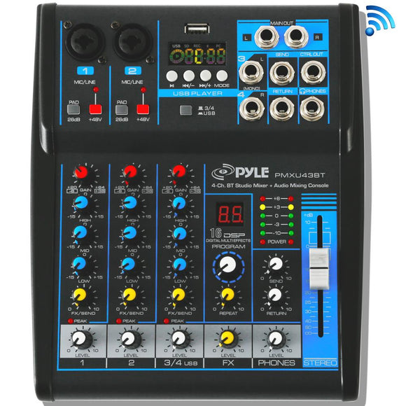 Pyle PMXU43BT 4-Channel Bluetooth Studio Mixer