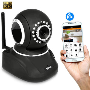 Pyle PIPCAMHD82BK Black IP WiFi Security Camera, Full HD 1080p w/Remote Surveillance
