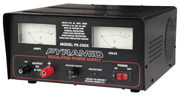 Pyramid PS26KX 25 AMP 6-15 VOLT Power Supply with Cooling Fan