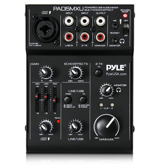 Pyle PAD15MXU 3-Channel USB Audio/Sound Mixer Recording Interface w/Battery