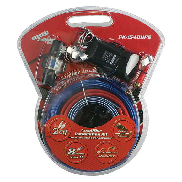 Audiopipe PK1540HPS Complete 8 Gauge Amp kit with Line Out Converter