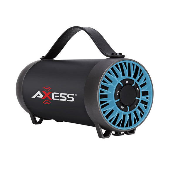 AXESS SPBT1056BL Portable Bluetooth Speaker FM Radio Line-In Rechargeable Batt