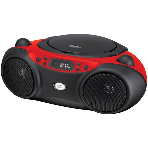 GPX BC232R Portable TopLoad CD Boombox AMFM 3.5mm Line In MP3 Device RedBlack