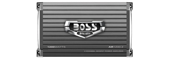 BOSS AUDIO AR1200.2 Armor 1200-Watt Full Range, Class A/B 2-8 Ohm Stable 2 Channel Amplifier with Remote Subwoofer Level Control