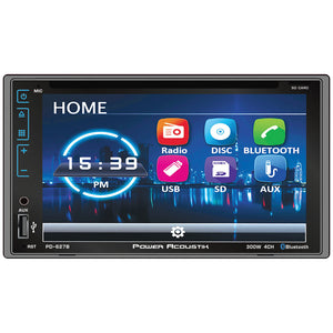 "Power Acoustik PD627B D.DIN 6.2"" AM/FM/CD/DVD/BT with Capacitive Flat Glass Face"
