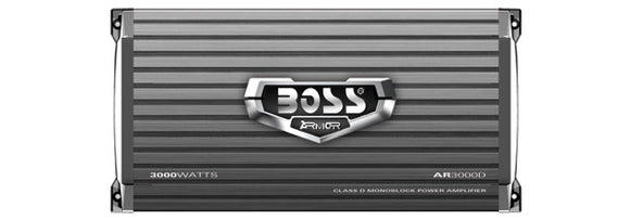 BOSS AUDIO AR3000D Armor 3000-Watt Monoblock, Class D 1-8 Ohm Stable Monoblock Amplifier with Remote Subwoofer Level Control