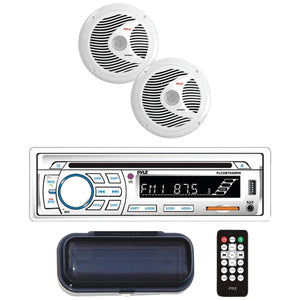 "Pyle PLCDBT65MRW Marine CD AM/FM Receiver w/ 2 6.5"" Speakers, Cover & BT (White)"