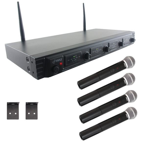 Pyle PDWM4520 UHF Quad-Channel Fixed-Frequency Wireless 4 Microphone System