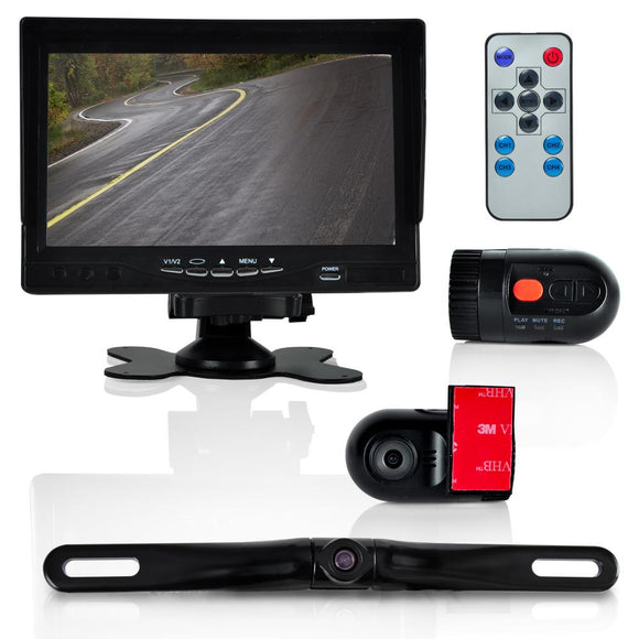 Pyle PLCMDVR72 Monitor System w/ 2 Interior DVR Dash Cams & License-Plate Camera