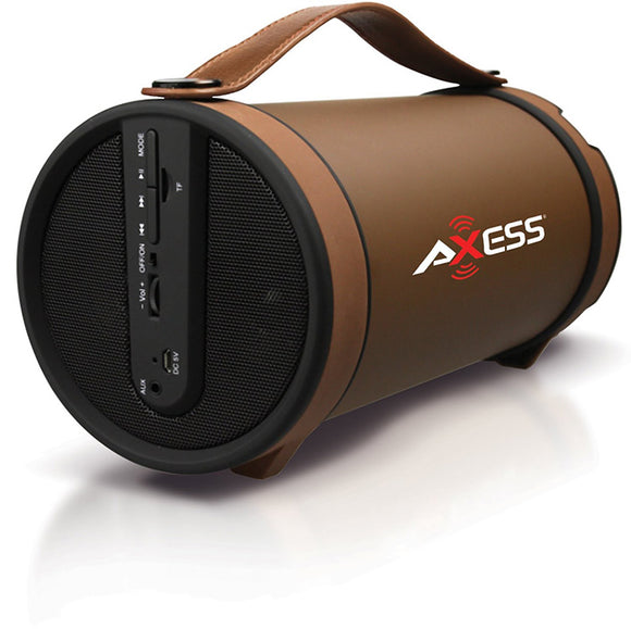 Axess SPBT1033BR Brown Portable Bluetooth Indoor Outdoor 2.1 Speaker