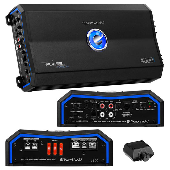 Planet Audio PL40001D Pulse Series Class D Monoblock Amplifier 4000W Max