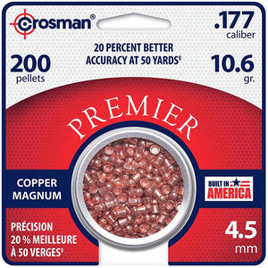 CROSMAN Premier Copper Magnum Domed Pellet.177 Caliber 10.6 Grain 200 Count