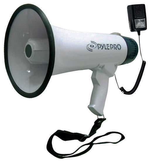 Pyle PMP45R Bullhorn Megaphone, Rechargeable Battery,10 Second Memory Record, Detachable Microphone, Siren