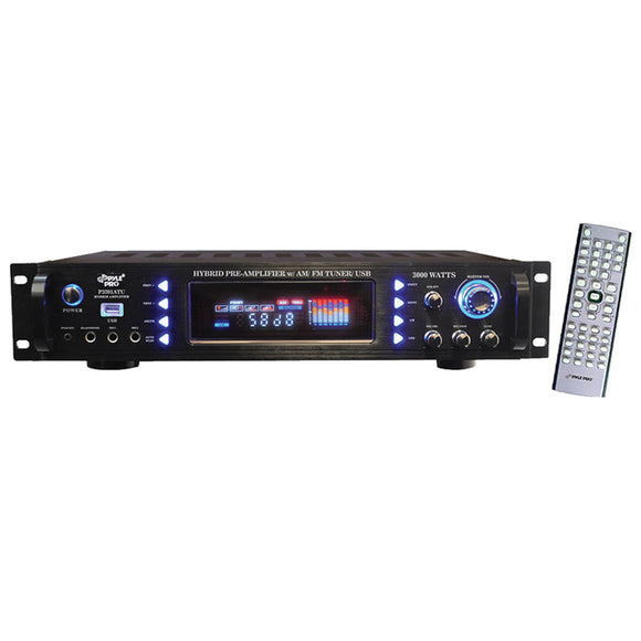 Pyle Pro P3201ATU 3000W Hybrid Pre Amp with AM/FM/USB