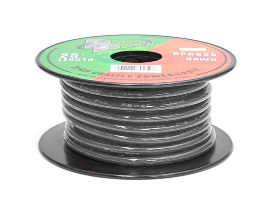 Pyramid RPB825 8 Gauge 25 FT. Black Spool of Wire