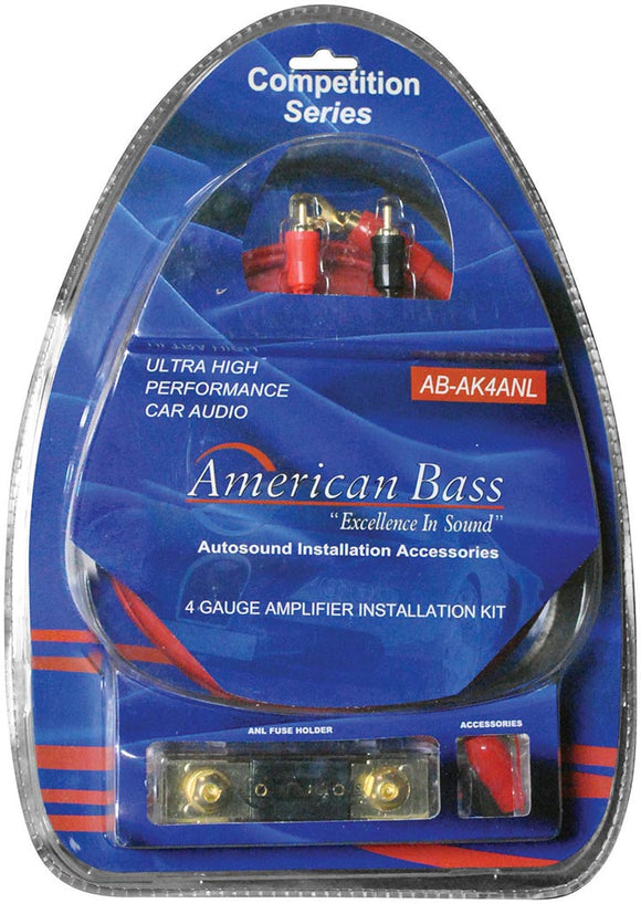 American Bass Ab4ganl 4 Ga Gauge Amplifier Amp Wiring Kit