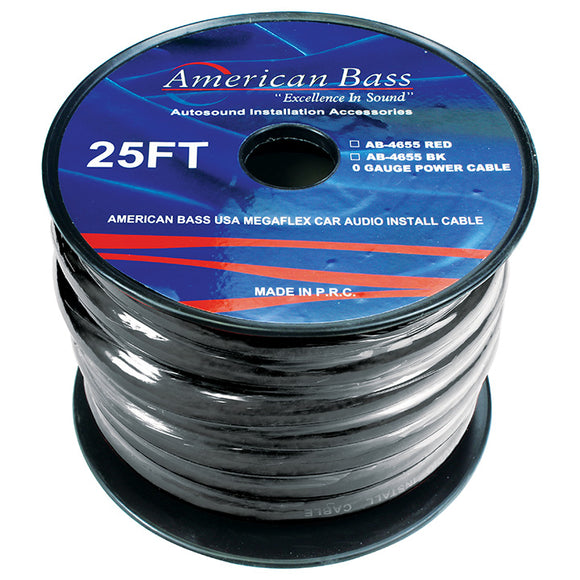 American Bass AB1/025B 0 Gauge black 25 ft. Roll