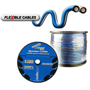 Audiopipe CABLE12BLS500 Speaker Wire 12 Gauge 500 Foot – Blue/Clear