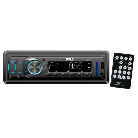 Pyle PLR34M In-Dash Stereo Radio Headunit Receiver, USB/SD Readers, AUX Input, MP3 Playback, Remote Control, Single DIN