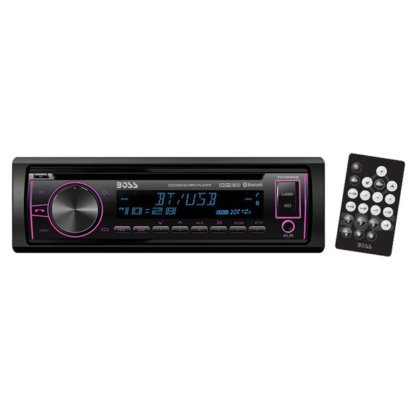 Boss 750BRGB Single Din CD/MP3 ReceiverMulti-Color Display Bluetooth USB Front Aux Remote
