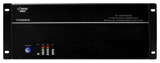 Pyle PT8000CH 19'' Rack Mount 8000 Watt 8 Channel Stereo/Mono Amplifier