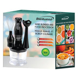 Brentwood Appl. HB-38BK 2-Speed Hand Blender & Food Processor w/Balloon Whisk