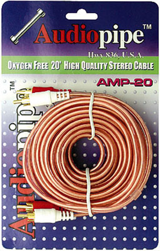 Audiopipe AMP20 Rca Cable 20 Audiopipe Ofc Clear Installer Series