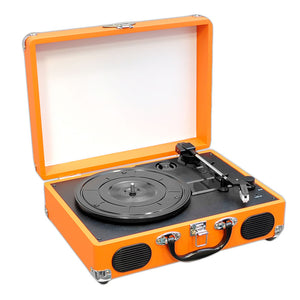 Pyle PVTT2UOR Retro Belt-Drive Turntable With USB-to-PC Connection, Rechargeable Battery (Orange Color)