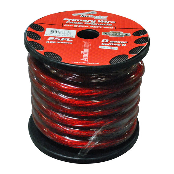 Audiopipe PW025CPRRD 0 Gauge 25Ft Copper Power Cable Red