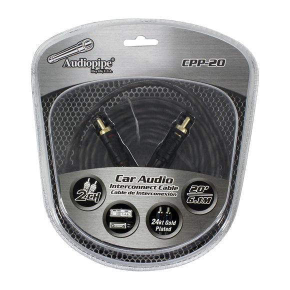 Audiopipe CPP20 20 foot ft Gold Plated Interconnect Cable