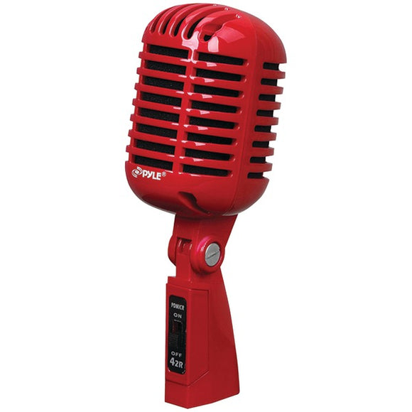 Pyle PDMICR42R Classic Retro-Style Dynamic Vocal Microphone (Red)
