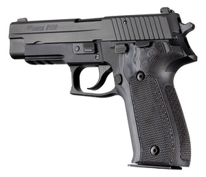 Hogue 26177BLKGRY Sig Sauer P226 Da Sa Checkered G10 Gmascus Black/Gray
