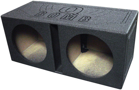 Q Power QBOMB12V Dual 12-Inch Vented Speaker Box with Durable Bed Liner Spray