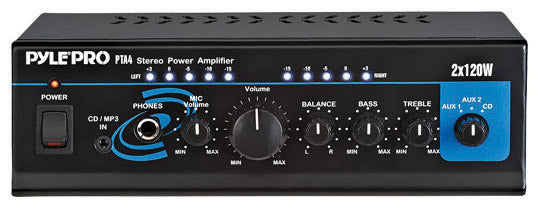 Pyle PTA4 2 x120 Watt Mini Stereo Amplifier with AUX/CD Input