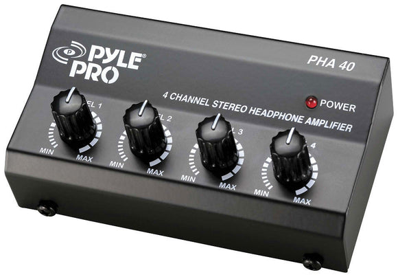 Pyle PHA40 4 Channel Headphone Signal Splitter Amplifier Box