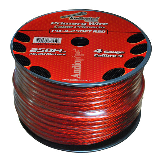 Audiopipe PW4250-R 250 Ft. Primary WIre 4 Gauge (RED)