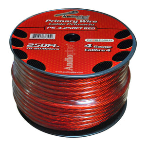 Audiopipe PS4RD Flexible Power Cable Red 250 ft. 4 Gauge