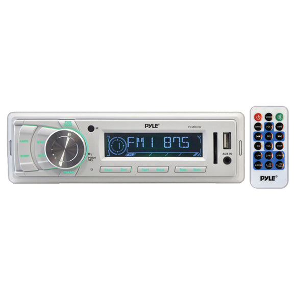 Pyle PLMR89WW Marine Receiver AM/FM/MP3/USB/Weatherband White Mechless