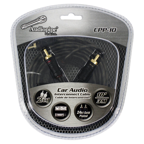 Audiopipe CPP10 10 foot ft Gold Plated Interconnect Cable