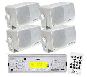In-Dash Marine Stereo USB/SD MP3 & 4 x 3.5'' Weather Proof Mini Box Speakers