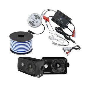 "Pyle KTHSP410B 600 Watt Marine System w/ Bluetooth 3.5"" Mini Box Speaker Black"