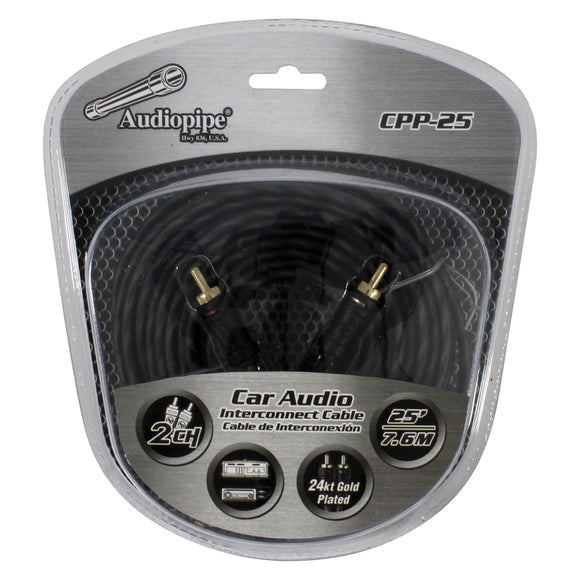 Audiopipe CPP25 25 foot ft Gold Plated Interconnect Cable