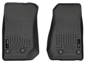 Husky 18041 Front Floor Black For 14-17 Jeep Wrangler '18 Jeep Wrangler 4 Door