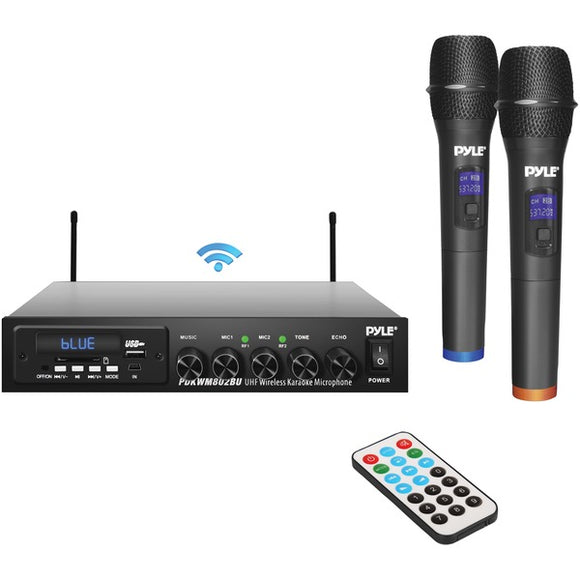 Pyle PDKWM802BU Wireless Microphone & Bluetooth(R) Receiver System