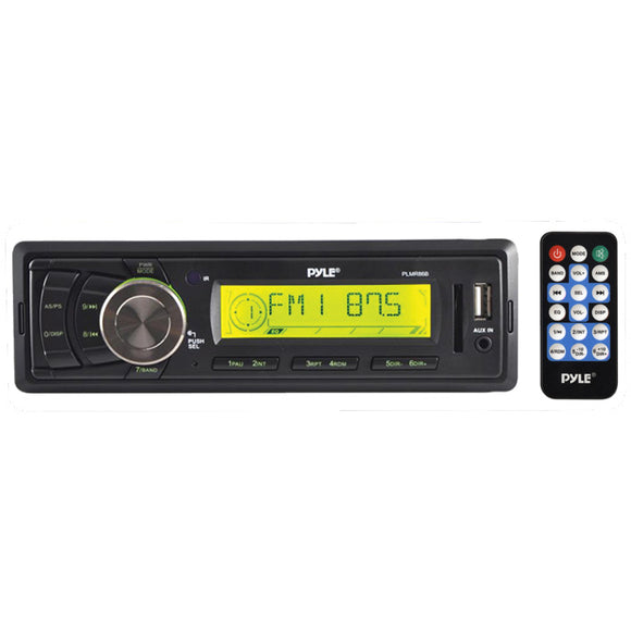 Pyle PLMR86B Black Mechless Marine Stereo w/ Aux Input, USB & SD Readers