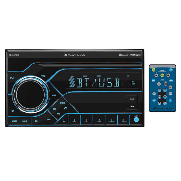 Planet Audio PB455RGB DDin Digital Media Receiver AM/FM Bluetooth USB Front Aux