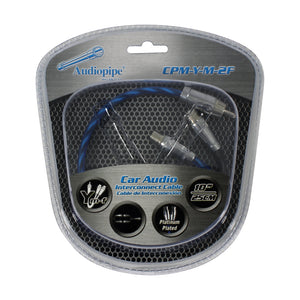 "Audiopipe CPMYM2F 10"" 1 Male 2 Female Platinum RCA Y Cable"