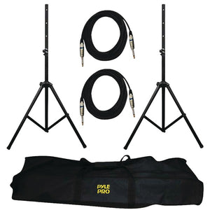 Pyle Pro PMDK102 Heavy-Duty Aluminum Dual Speaker Stand and 1/4'' Phono Cable Kit