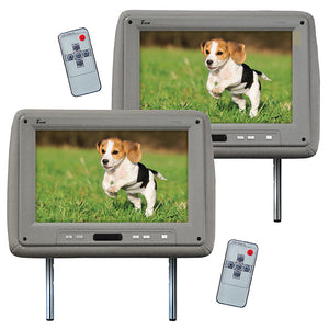 "Tview T110PLGR 11.2"" Grey Headrest Monitor Pair w/ Remotes"