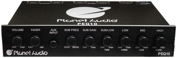 Planet Audio PEQ10 4 Band Equalizer Aux input volume control half DIN chassis
